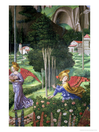 Angel Gathering Flowers in a Heavenly Landscape, Detail from the Journey of the Magi Cycle Premium Giclee Print by Benozzo di Lese di Sandro Gozzoli