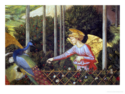 Angel Feeding a Peacock, Detail from the Journey of the Magi Cycle in the Chapel, c. 1460 Premium Giclee Print by Benozzo di Lese di Sandro Gozzoli