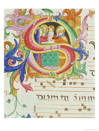 """Historiated Initial """"S"""" Depicting the Presentation in the Temple Giclee Print by  Angelico & Strozzi"""