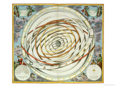 """Planetary Orbits, Plate 18 from """"The Celestial Atlas, or the Harmony of the Universe"""" Premium Giclee Print by Andreas Cellarius"""