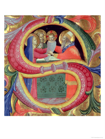 """The Presentation in the Temple, Depicted in an Historiated Initial """"S"""" Giclee Print by  Fra Angelico"""