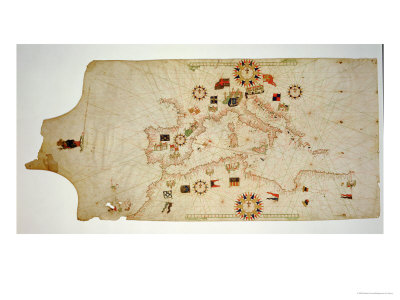 Miniature Nautical Map of the Central Mediterranean, 1560 Giclee Print by Matteo Prunes