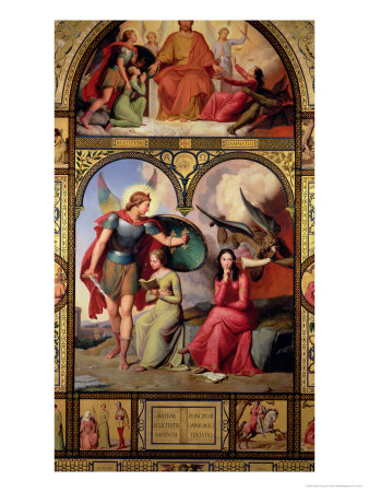 Good and Evil, 1832 Premium Giclee Print by André Jacques Victor Orsel