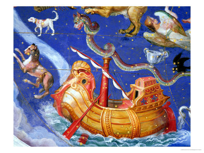 """Scene of the Zodiac Including a Galleon, Detail from the Vault of the """"Sala Del Mappamondo"""" Giclee Print by Giovanni De' Vecchi"""