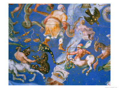 """Signs of the Zodiac Including Battling Centaurs, Detail from the Vault of the """"Sala Del Mappamondo"""" Giclee Print by Giovanni De' Vecchi"""