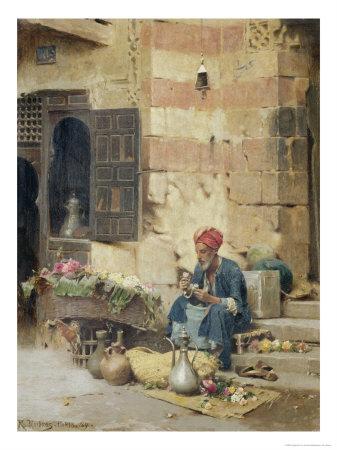 The Flower Seller, 1891 Giclee Print by Raphael Von Ambros