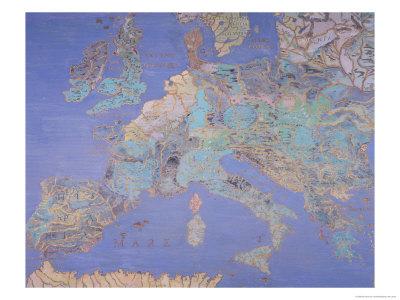 Map of Sixteenth Century Europe, from the Sala Del Mappamondo circa 1574-5 Premium Giclee Print by Giovanni De' Vecchi