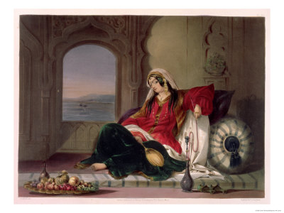 Kandahar Lady of Rank, Engaged in Smoking Premium Giclee Print by James Rattray