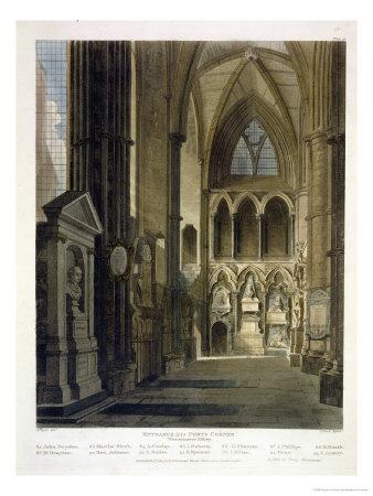 Entrance into Poet's Corner Premium Giclee Print by Augustus Charles Pugin