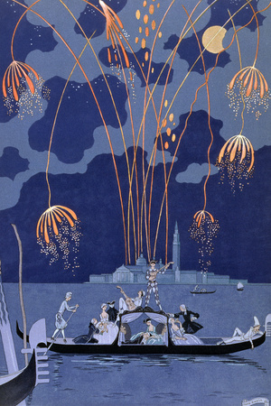 Fireworks in Venice, Illustration for Fetes Galantes by Paul Verlaine 1924 Premium Giclee Print by Georges Barbier