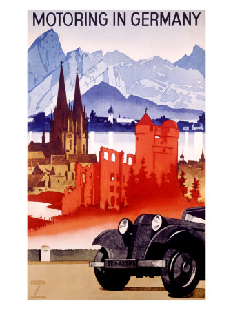 Motoring in Germany Giclee Print