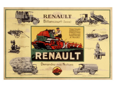Renault Tractor Farm Equipment Giclee Print