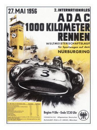 Nurburgring 1000 Auto Race, c.1956 Giclee Print