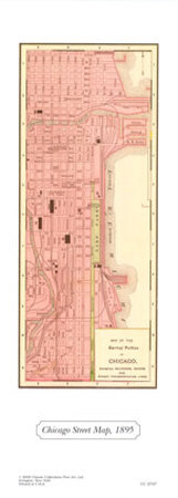 Chicago Street Map, 1895 Prints