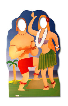 Hawaiian Couple Cut Out Lifesize Stand-In Cardboard Cutouts