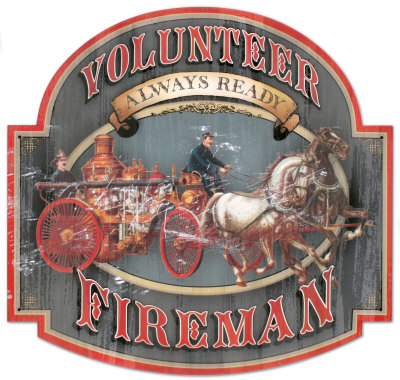 Volunteer Fireman Plaque en métal