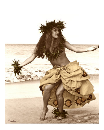 Hula Dancer in Tapa Skirt Fotografie-Druck