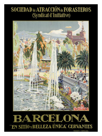 Barcelona Spain Fountain Giclee Print