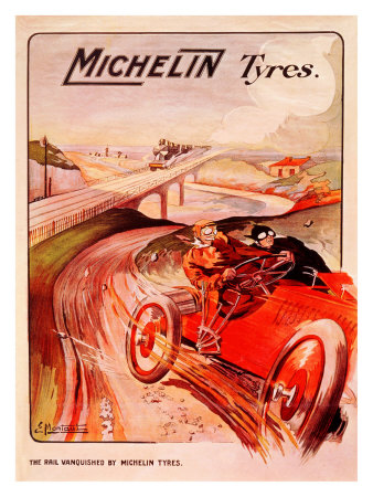 Michelin, Tire Vanquished Rail Giclee Print