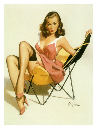 Pin-Up Girl: Beach Chair Giclee Print at AllPosters.