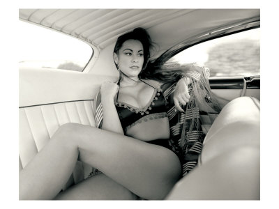 Pin-Up Girl: Back Seat Bikini Giclee Print