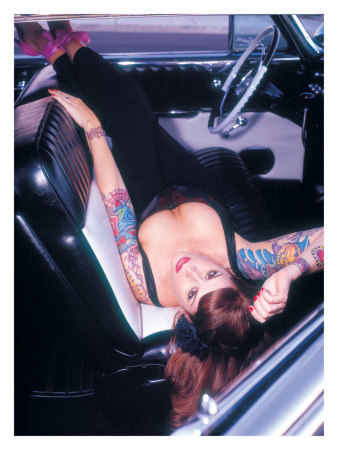 Pin-Up Girl: Front Seat Tattoo Giclee Print