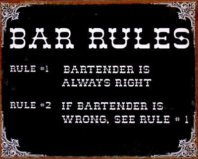 Bar Rules Tin Sign
