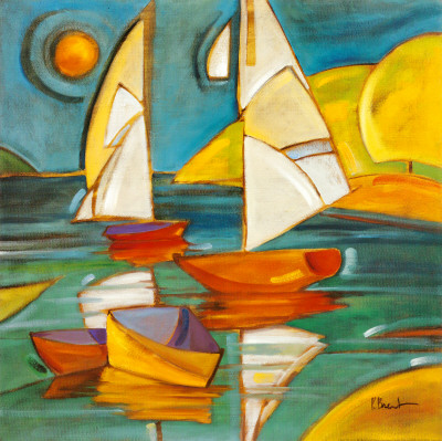Bateaux abstract seascapes colorful art print by Paul Brent