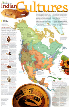 North American Indian Cultures Map Affiche