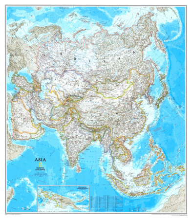 Asia Political Map Poster