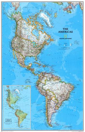 Politisk kort over Nord-, Syd- og Centralamerika, på engelsk Posters