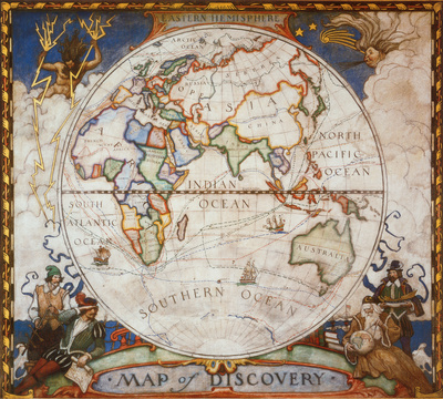 Map of Discovery, Eastern Hemisphere Affiche