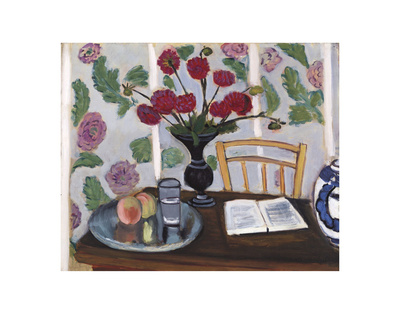 Still Life, Bouquet of Dahlias and White Book, 1923 Art Print
