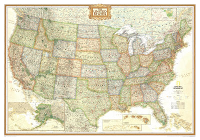 National Geographic United States Political Map, Executive Style Giant Poster Prints