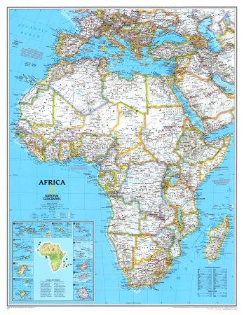 Politisk kort over Afrika Posters på AllPosters.dk
