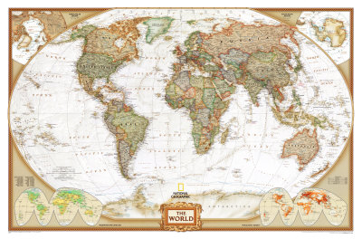 World Political Wall Map, Executive Style Antique Tones Educational Enlarged Poster Prints