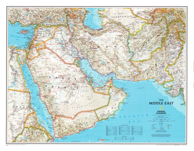 Map of Afghanistan, Pakistan and the Middle East Print