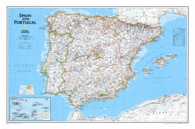 Kort over Spanien og Portugal Posters