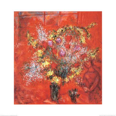 Fleurs Sur Fond Rouge, c.1970 ポスター : マルク・シャガール