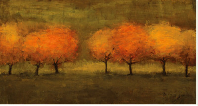 Red Trees II Stretched Canvas Print by Seth Winegar