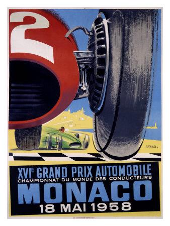 Monaco Grand Prix F1, c.1958 Giclee Print by J. Ramel
