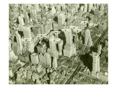 New York City, Skyline and Biplanes Giclee Print