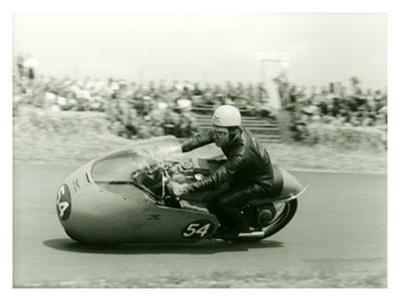 Moto Guzzi Dustbin GP Motorcycle Race Giclee Print by Giovanni Perrone