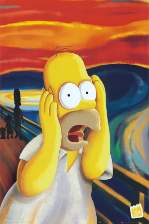Homer screaming in Edvard Munch\'s The Scream fine art painting poster art