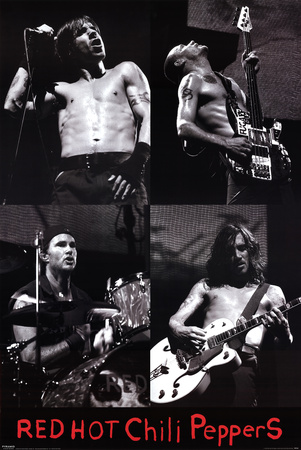 Red Hot Chili Peppers top rock bands members black and white poster photo art