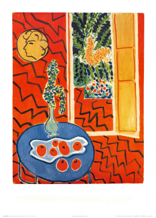 Red Interior, Still Life on Blue Table, c.1947 Art Print