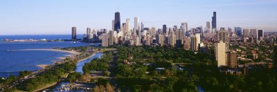 Aerial View of Skyline, Chicago, Illinois, USA Photographic Print by  Panoramic Images