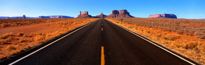 Empty Road, Clouds, Blue Sky, Monument Valley, Utah, USA Photographic Print by  Panoramic Images