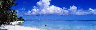 Ocean, Water, Clouds, Relaxing, Matira Beach, Tahiti, French Polynesia, South Pacific, Island Photographic Print by  Panoramic Images
