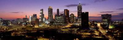 Skyline at Dusk, Cityscape, Skyline, City, Atlanta, Georgia, USA Photographic Print by  Panoramic Images
